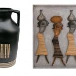 Vaso de cerâmica com detalhes de bambu; Quadro com as mulheres das tribos