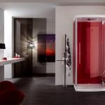 Banheiro em tons de cinza com cor quente