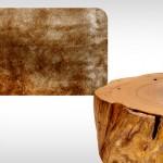 Tapete de seda sintética e Fragmento de tronco de madeira