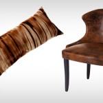 Almofada estampada em pelúcia e Poltrona de couro