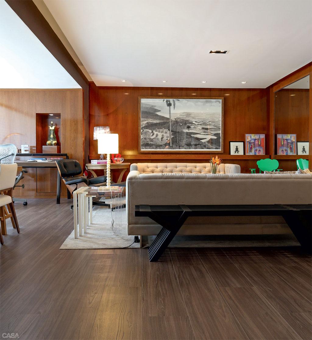 Nesta sala foi utilizado o laminado para cobrir o piso. #1CAF73 1024x1114